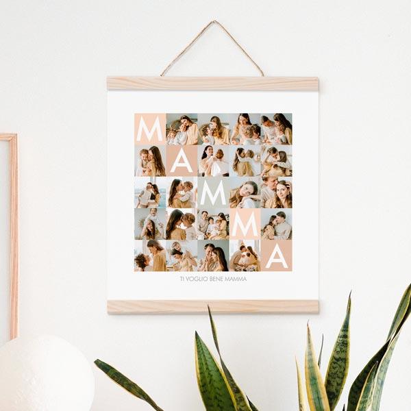 Stampa Poster Collage Mamma Poster 30x30 con astine in legno